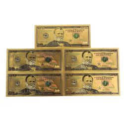 Lot (5) USA 24kt Gold Leaf 50.00 Notes