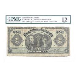 Dominion of Canada 1911 One Dollar Note. Fine 12. Green Line PMG. (NR)