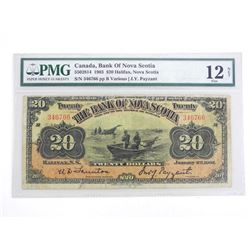 Bank of Nova Scotia 1903, Twenty Dollar Note. Halifax, Nova Scotia PMG 12 Fine. Only 26 in the Regis