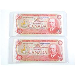 Lot (2) Bank of Canada 1975 Fifty Dollar Note. (EHF) 2 Consecutive