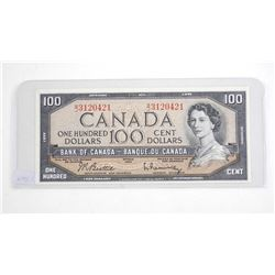 Bank of Canada 1954 One Hundred Dollar Note. (BT) B/R