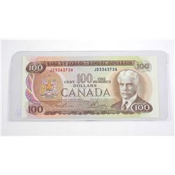 Bank of Canada 1975 One Hundred Dollar Note. (JD) L/B