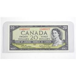 Bank of Canada 1954 20.00 Note . Modified Portrait (FW) B/R