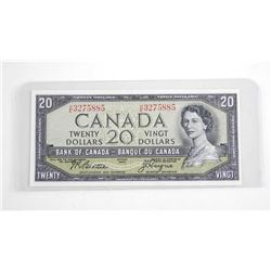 Bank of Canada 1954 20.00 Note . Modified Portrait (HE) B/R