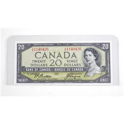 Bank of Canada 1954 20.00 Note . Modified Portrait (KE) B/C