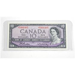 Bank of Canada 1954 10.00 Note . Modified Portrait (JT) B/R