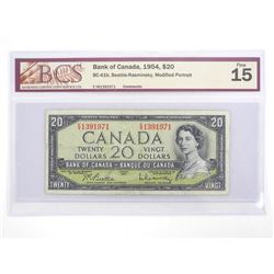 Bank of Canada 1954 Twenty Dollar Note Modified Portrait. Fine 15. BCS