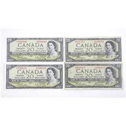 Lot (4) Bank of Canada 1954 Twenty Dollar Note 2x