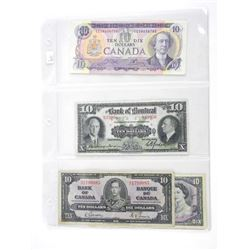 Grouping of (4) Canada 10.00 Notes: 1935, 1937, 19