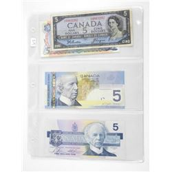 Grouping of (4) Canada 5.00 Notes 1954, 1979, 1986