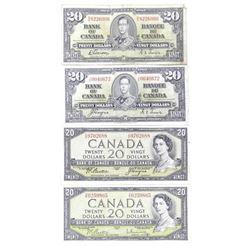 Lot (4) Bank of CanadaTwenty Dollar Note 2x1954 Mo