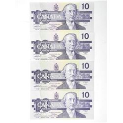 Lot (5) 1989 Bank of Canada 10.00 BC-67A CH-UNC