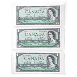 Lot (3) Bank of Canada 1954 One Dollar Note. In Se