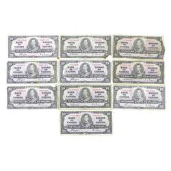 Lot (10) Bank of Canada 1937 Ten Dollar Notes. Est