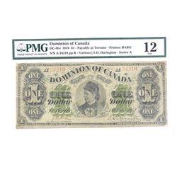 Dominion of Canada 1878 1.00 Printer Babn PMG F12.