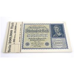 Lot (20) Germany 1922 10,000 Mark Notes. 19 in Seq