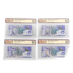 Group (4) Bank of Canada 2018 10.00 Choice UNC 64