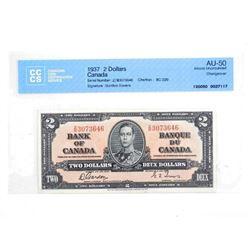 Bank of Canada 1937 2.00 AU-50 CCCS