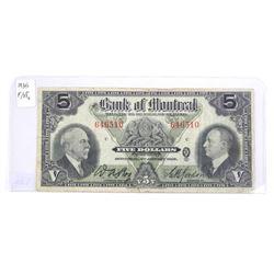 Bank of Montreal 1935 Five Dollar. F/VF