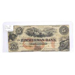 Zimmerman Bank 1856 5.00 Fine