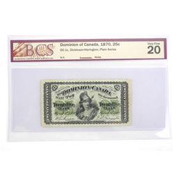 Dominion of Canada 1870 25 Cent Plain Series. VF20