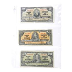 Estate Lot (3) Bank of Canada 1937 - 20, 50 and 10