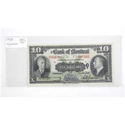 Bank of Montreal 1938 Ten Dollar. Appears - UNC