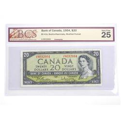 Bank of Canada 1954 Twenty Dollar Note Modified Po