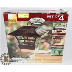 NATURALLY SOLAR SET OF 4 SOLAR LIGHTED POST CAPS