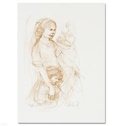 """""""Small Breton Woman with Child"""" Limited Edition Lithograph by Edna Hibel (1917-2014), Numbered and H"""