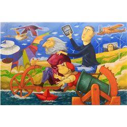 """Pino Procopio """"IN VIAGGIO CON LEONARDO DA VINCI"""" Original Serigraph on Cardboard"""