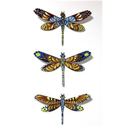 "Patricia Govezensky- Original Painting on Cutout Steel (Set of 3) ""Set of 3 Dragonfly"""