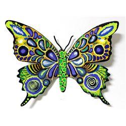 "Patricia Govezensky- Original Painting on Cutout Steel ""Butterfly CLXXIV"""
