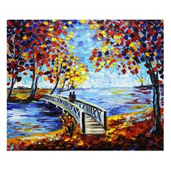 "Svyatoslav Shyrochuk- Original Oil on Canvas ""Love By The Bridge"""
