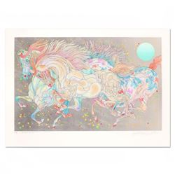 """Guillaume Azoulay, """"Stardust"""" Limited Edition Serigraph with Hand Laid Silver Leaf, Numbered and Han"""