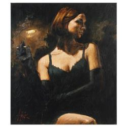 """Fabian Perez, """"Black Gloves II"""" Hand Textured Limited Edition Giclee on Canvas. Hand Signed and Numb"""