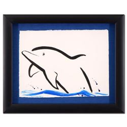 """Wyland - """"Dolphin"""" Framed Original Sumi Ink and Watercolor Painting, Hand Signed with Certificate of"""