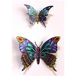 "Patricia Govezensky- Original Painting on Cutout Steel (Set of 2) ""Set of 2 Butterflies"""