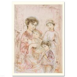 """""""Lotte and Her Children"""" Limited Edition Lithograph (30"""" x 41.5"""") by Edna Hibel, Numbered and Hand S"""