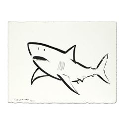 "Wyland, ""Great White"" Original Sumi Ink Painting, Hand Signed with Certificate of Authenticity."