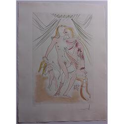 "Salvador Dali- Original Engravings with Color ""Venus, Mars et Cupidon"""