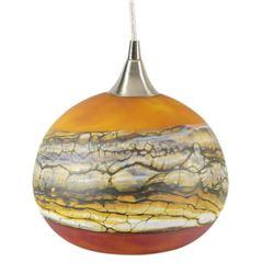 """Strata Series Hanging Lamp"" Hand Blown Glass Sculpture, Hand Signed by GartnerBlade Glass."