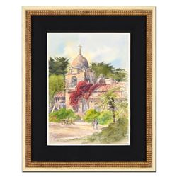 "Martin Goode (1932-2002), ""The Mission, Carmel, Monterey, California "" Framed Original Watercolor Pa"