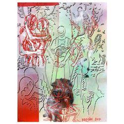 "Mark Kostabi ""Till Text Do We Part"" Hand Signed Original Artwork with COA."