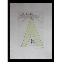 """Salvador Dali- Hand Colored Original Etching """"God , Time , Space and the Pop"""""""