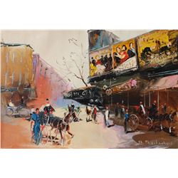 "Shalva Phachoshvili- Original Oil on Canvas ""Movie Theater"""