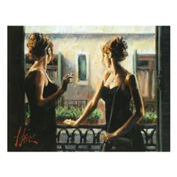 """Fabian Perez, """"Balcony Buenos Aires IV"""" Hand Textured Limited Edition Giclee on Board. Hand Signed a"""