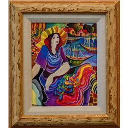 "Patricia Govezensky- Original Giclee on Canvas ""Lady by the Bayside"""