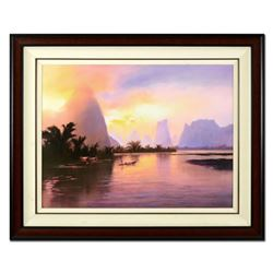 """Thomas Leung, """"Tropic Dawn"""" Framed Hand Embellished Limited Edition on Canvas, Numbered 22/100 and H"""
