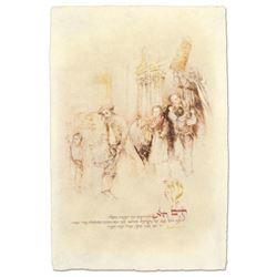 "Brachi Horen, ""Children With Torah"" Hand-Embellished Mixed Media with Goldleaf, Hand Signed with Cer"